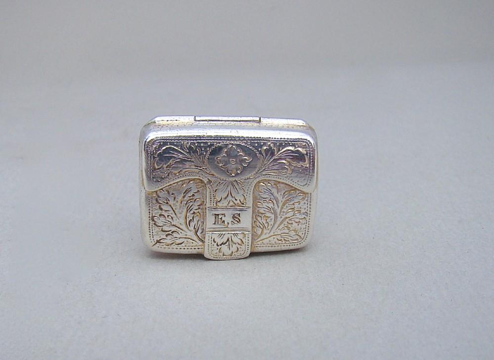 georgian silver 'valise' vinaigrette by ledsam vale birmingham 1823