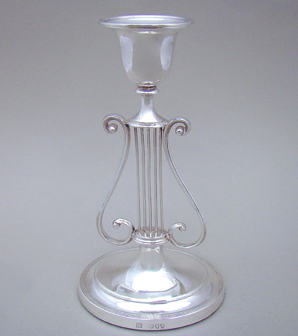 rare victorian silver lyre table candlestick by the goldsmiths silversmiths company london 1896