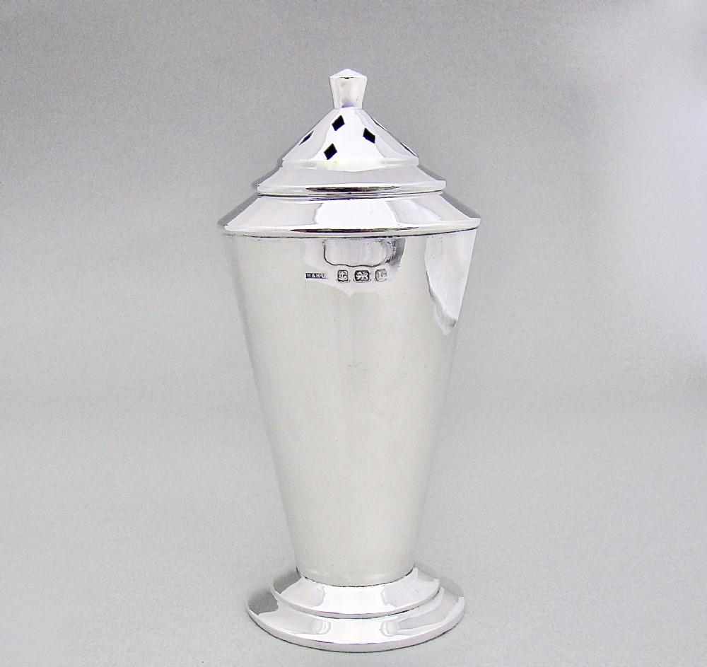 art deco silver sugar caster by hasset harper ltd birmingham 1935
