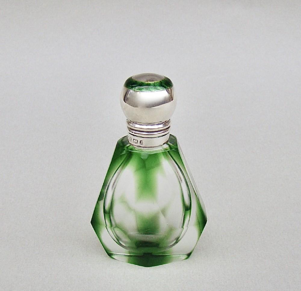 silver guilloche enamel green glass scent bottle by henry matthews birmingham 1901
