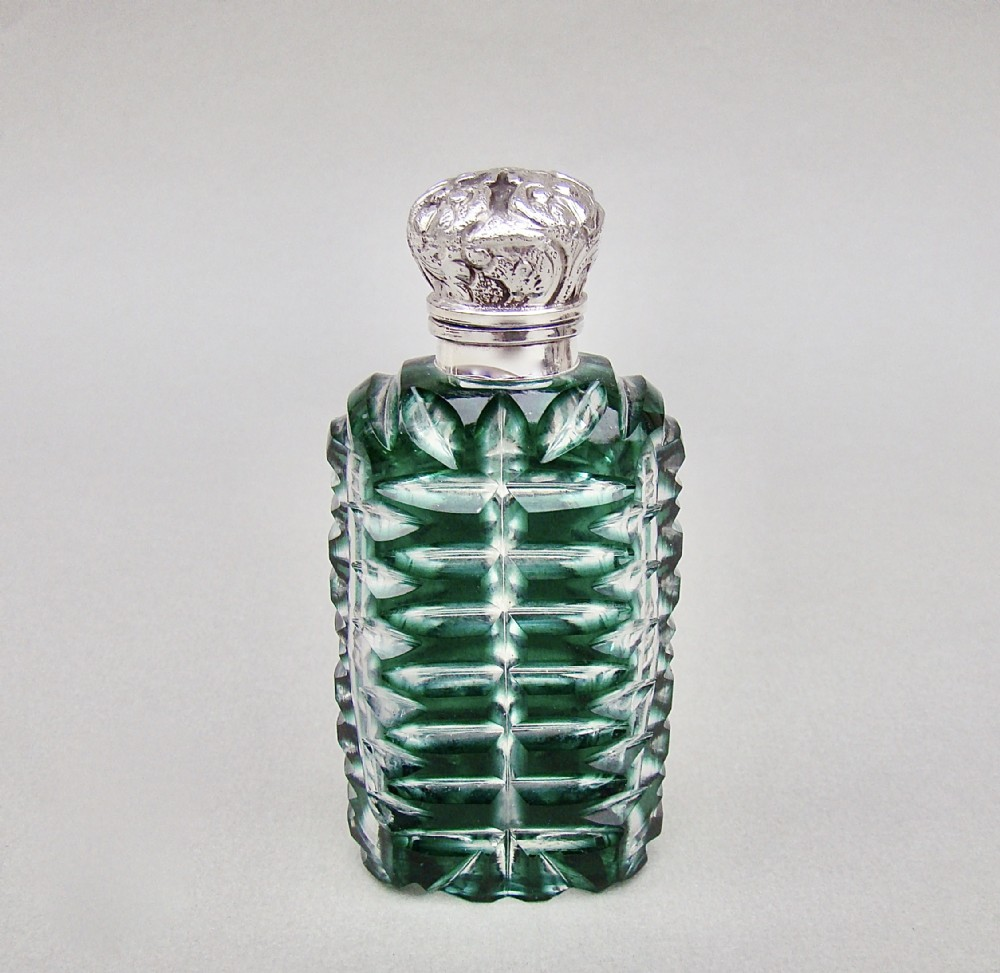 fabulous victorian silver and bristol emerald green overlay bohemian glass scent bottle circa 1800