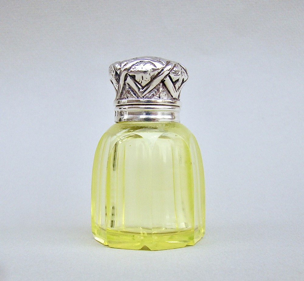 victorian silver uranium glass scent bottle by charles may birmingham 1890