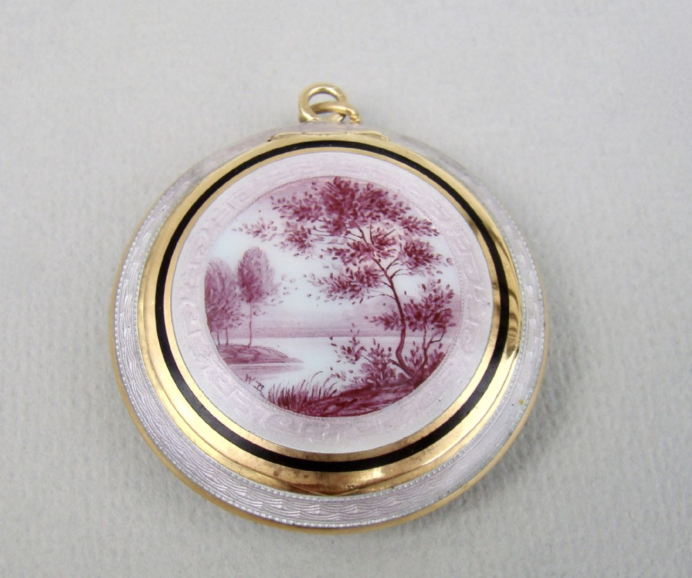 rare 19th c french enamel silver gilt compact with pink camaieu river landscape