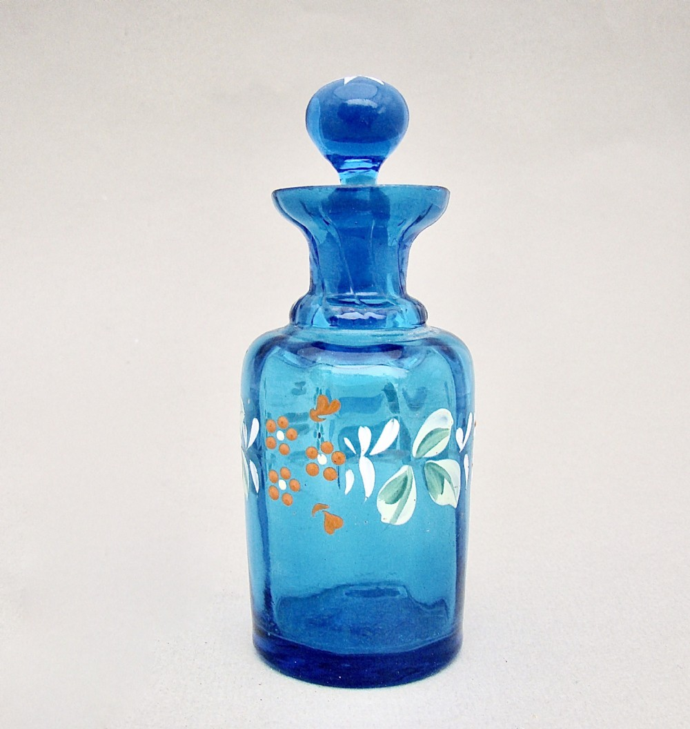 victorian turquoise enamelled glass scent bottle circa 1890