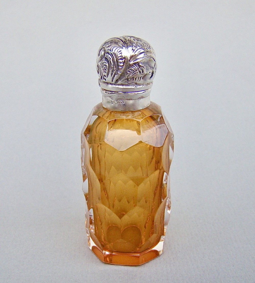 victorian silver amber slicedcut glass scent bottle birmingham 1899