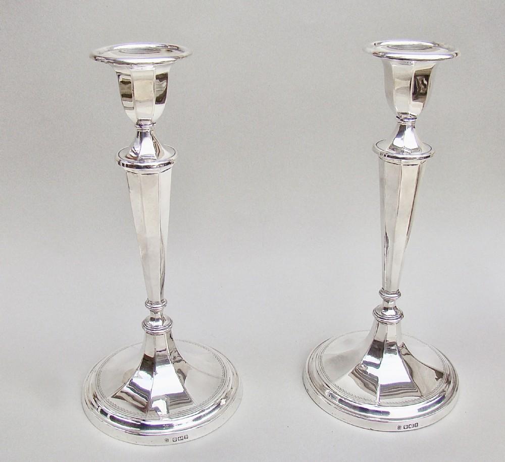 elegant pair of edwardian silver column candlesticks by fordham faulkner sheffield 1910