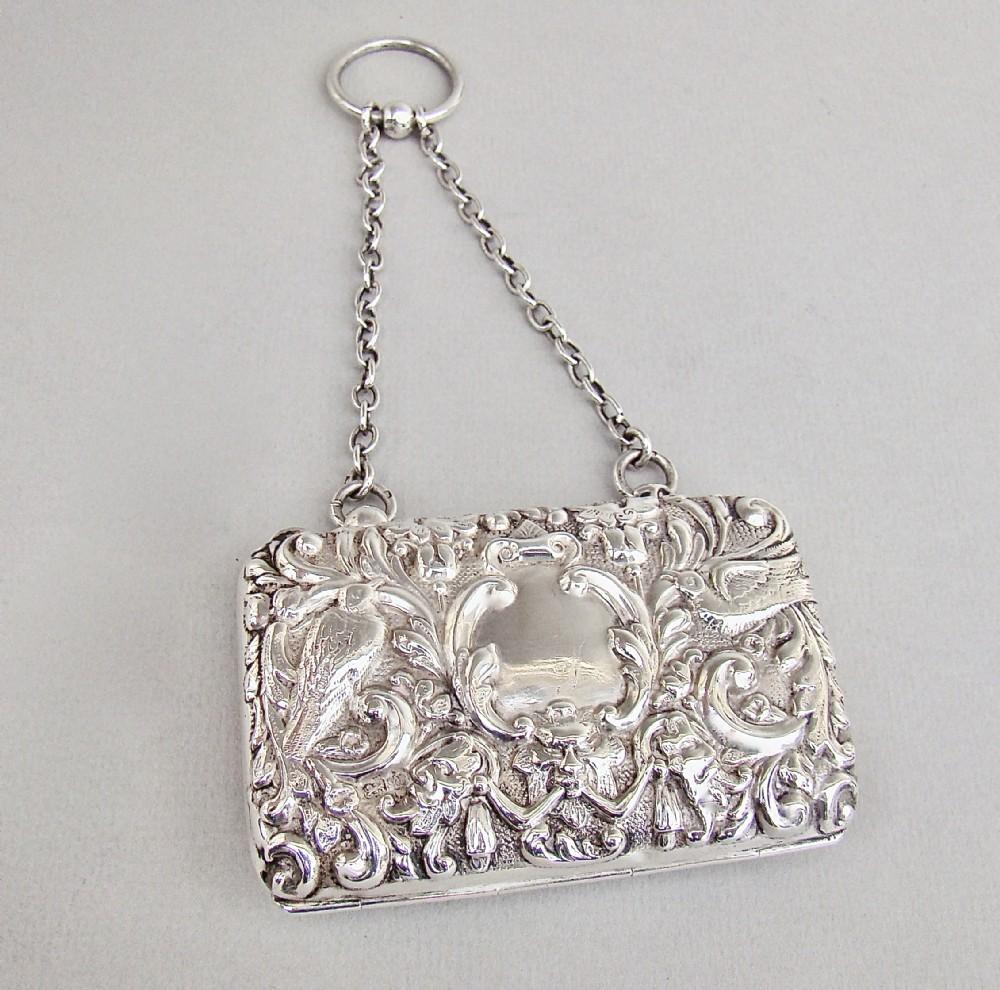 edwardian silver evening purse by henry matthews birmingham 1903