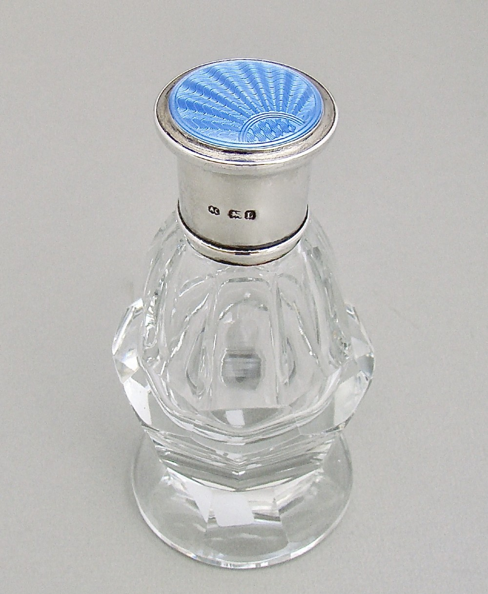 elegant art deco silver guilloche enamel cut glass scent bottle by albert carter birmingham 1936