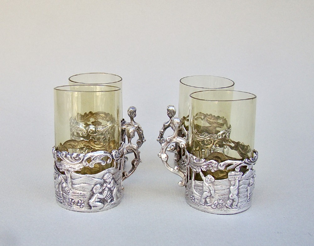 delightful set of four victorian silver amber glass tea holders by william comyns london 1889