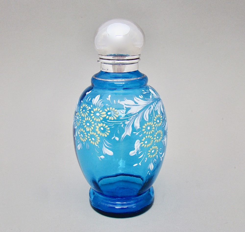 edwardian silver mounted turquoise enamelled glass scent bottle by john grinsell birmingham 1910