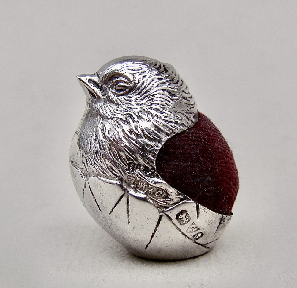 george v silver hatching chick pin cushion by sampson mordan co chester 1914