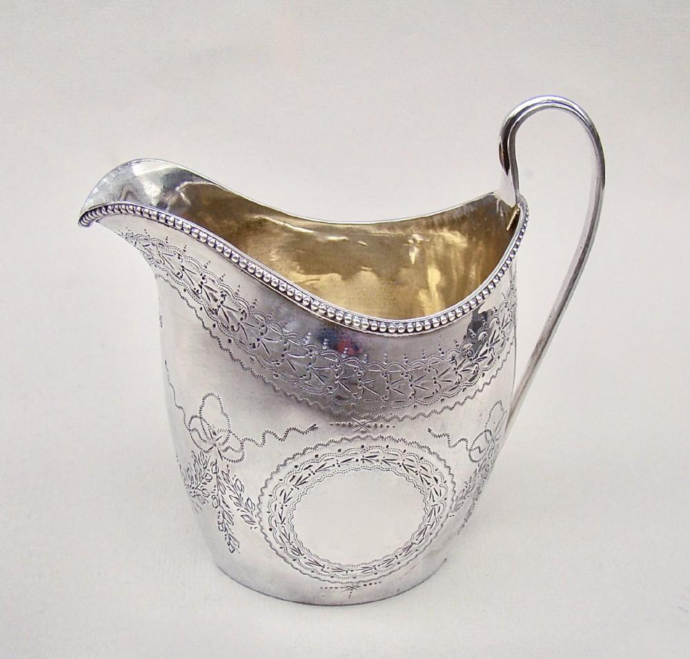 georgian silver cream jug by peter ann bateman london 1796