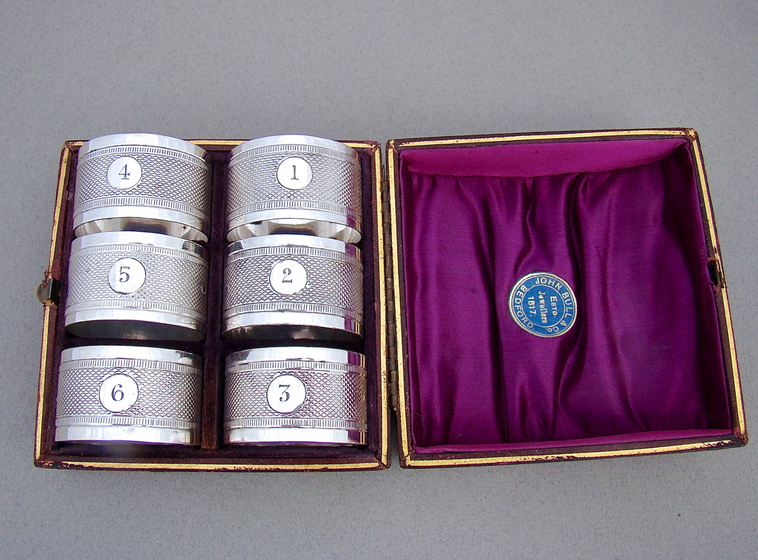cased set of six victorian silver plated numbered napkin rings circa 1890
