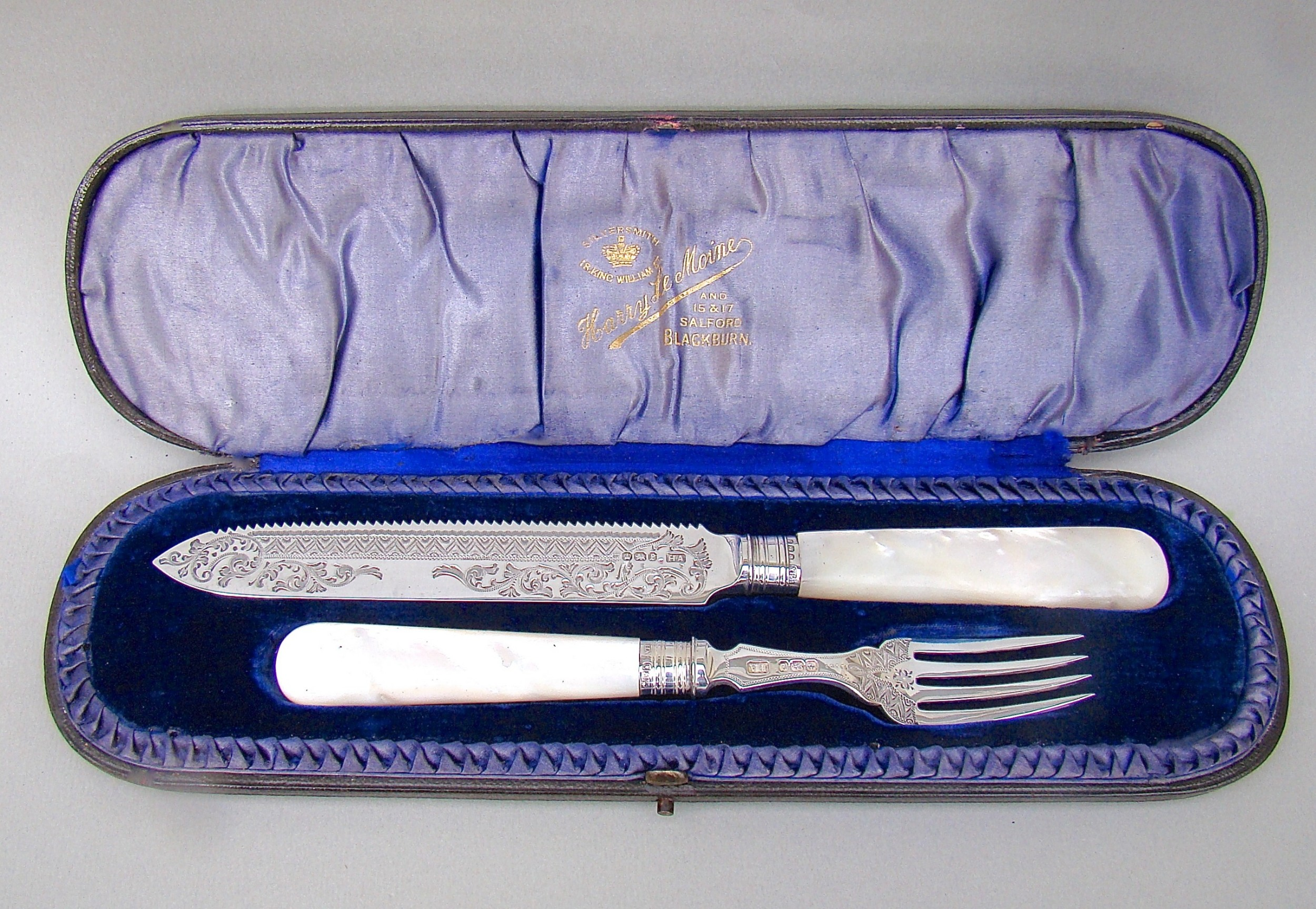 cased victorian silver mother of pearl cake knife fork by the atkins brothers sheffield 1897