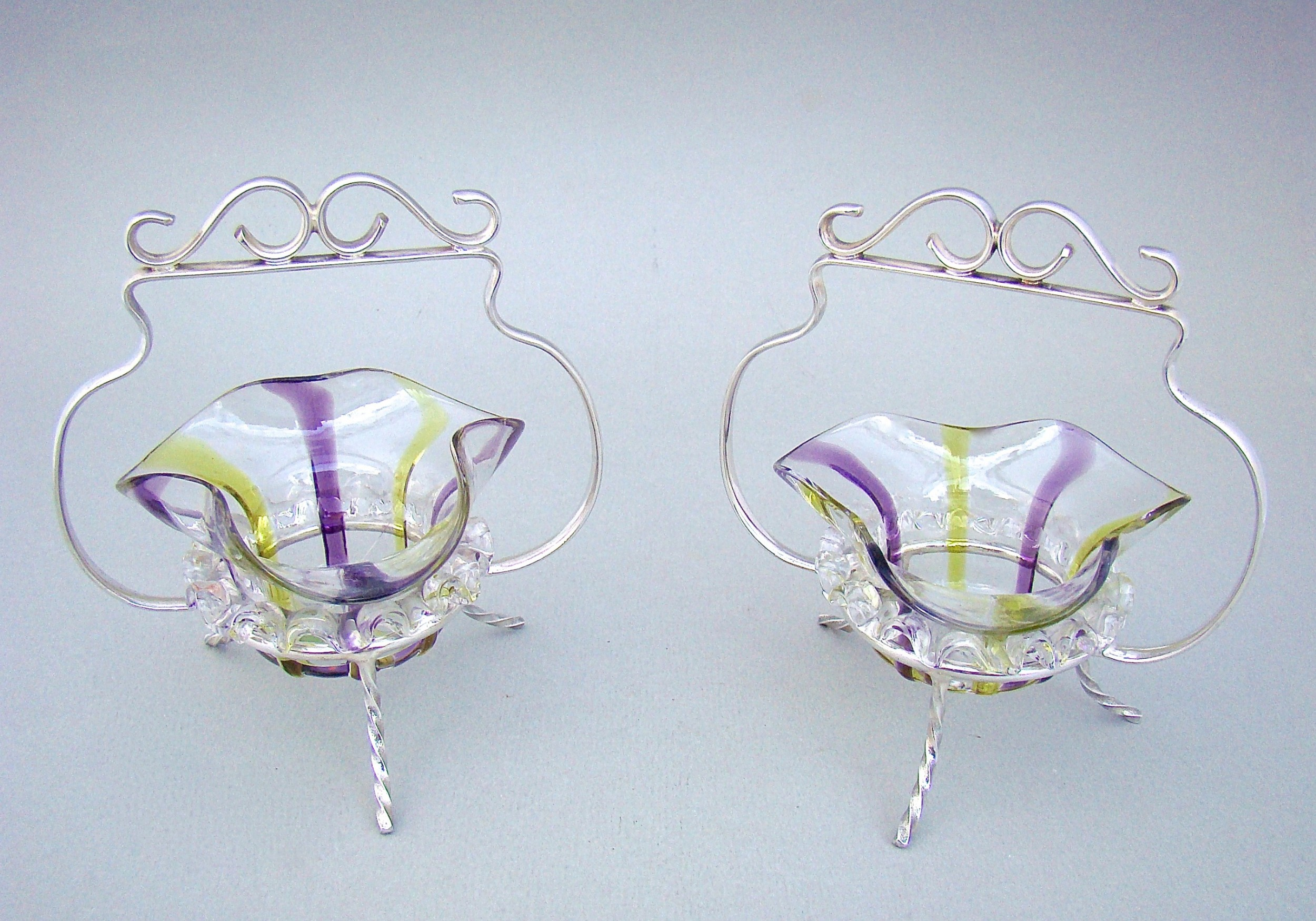 pair of victorian silver plated stands with small glass dishes circa 1890