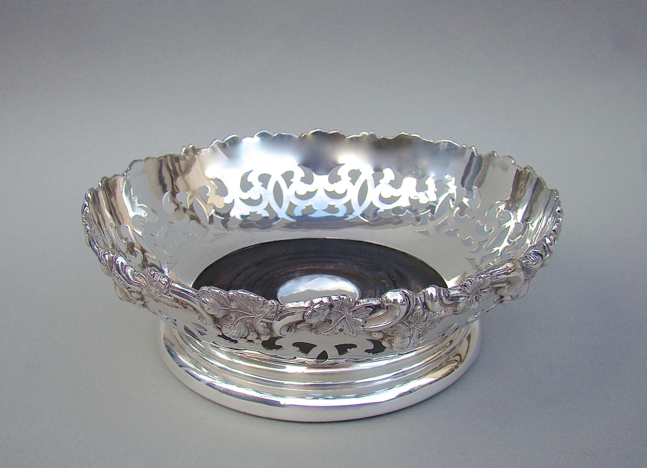 victorian silver plated pierced wine coaster circa 1890