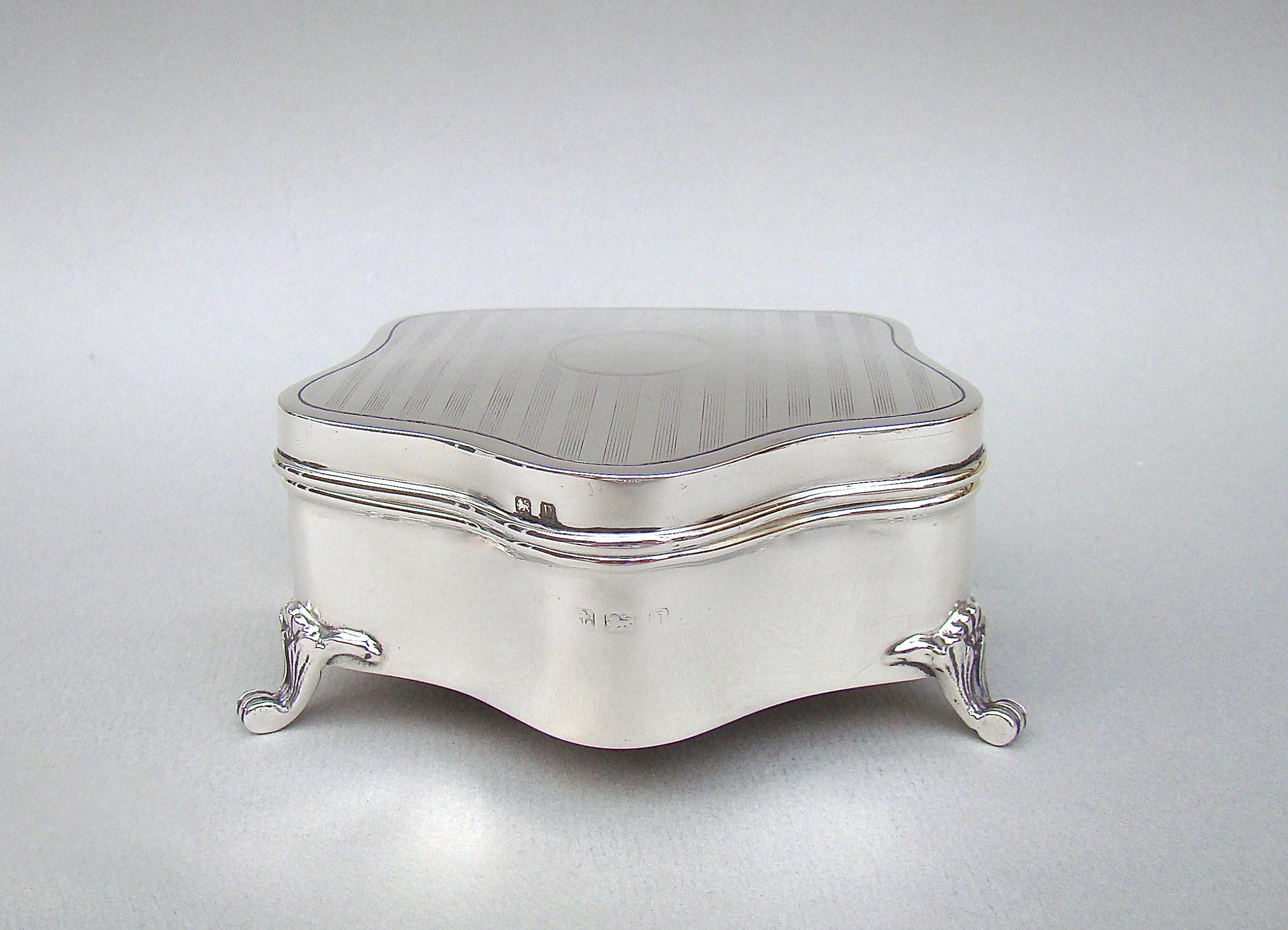 large george v solid silver jewellery box birmingham 1922