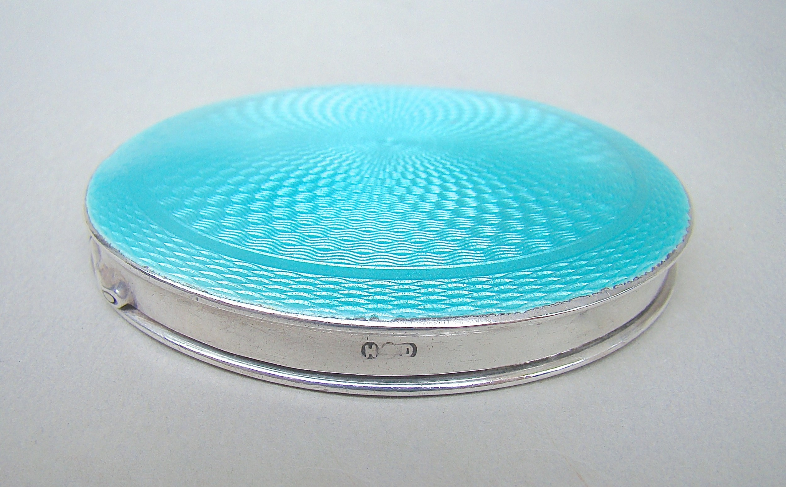art deco silver and guilloche enamel compact by henry clifford davis birmingham 1922