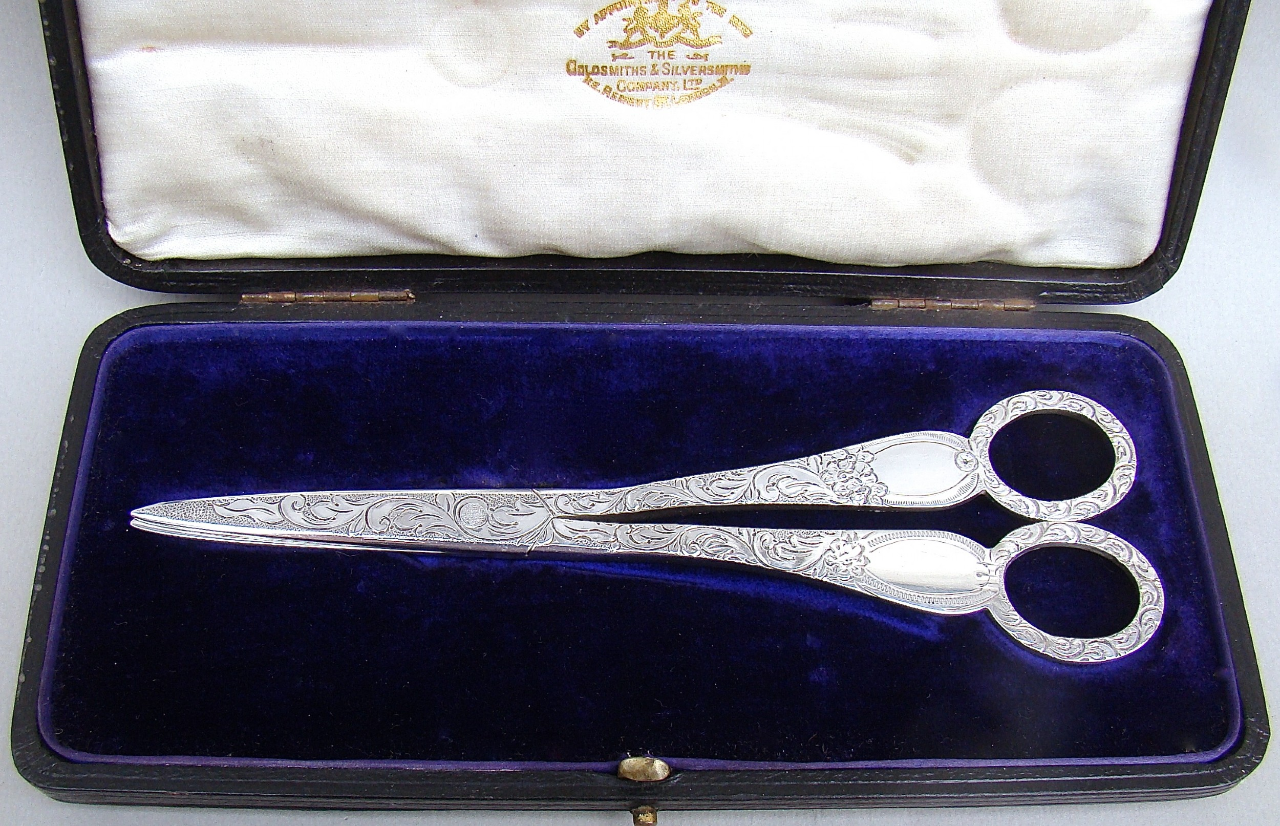 cased pair of victorian silver grape scissors by wakely wheeler london 1890