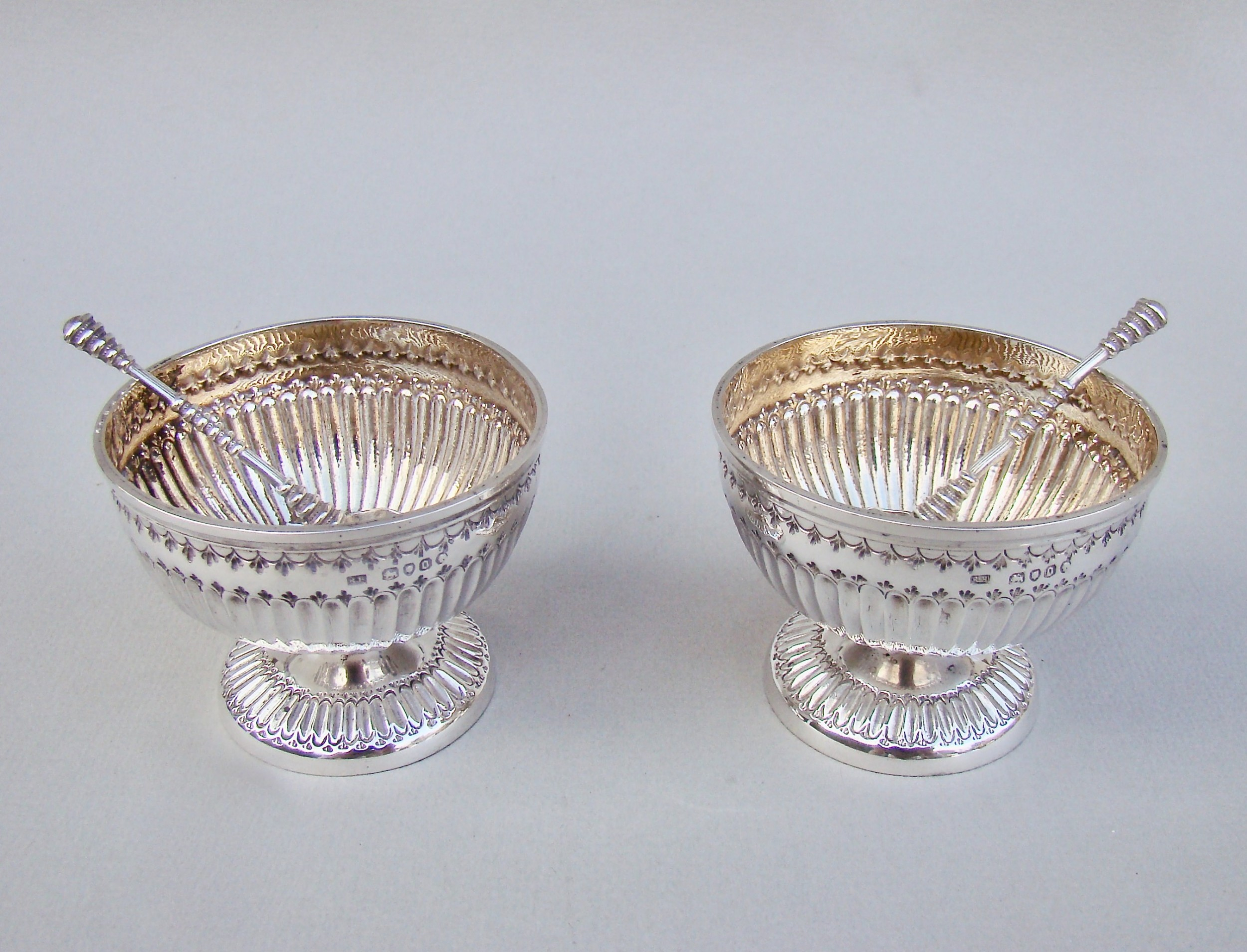 pair of victorian solid silver salts by robert hennell london 1869