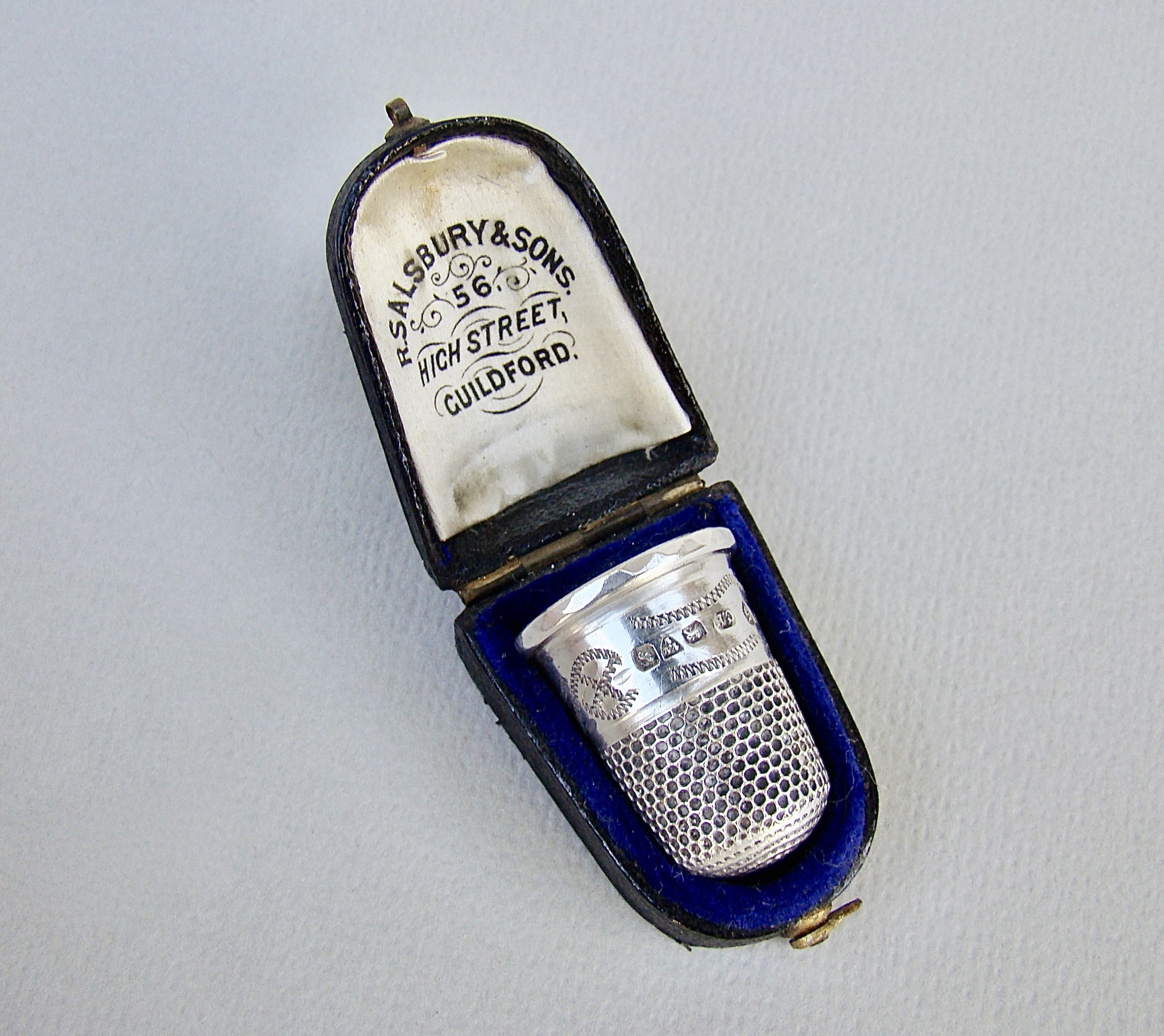 cased george v silver thimble by charles horner chester 1911