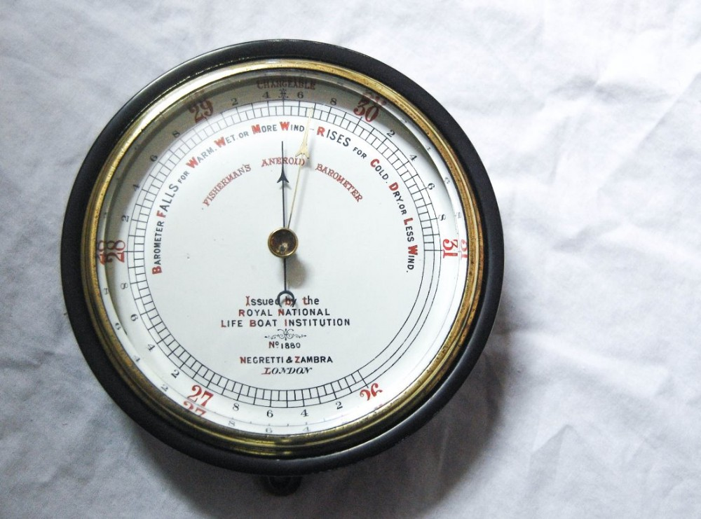 late victorian rnli fisherman's aneroid barometer by negretti zambra london