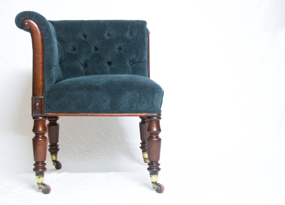 late victorian velvet mahogany corner chair with cc patent