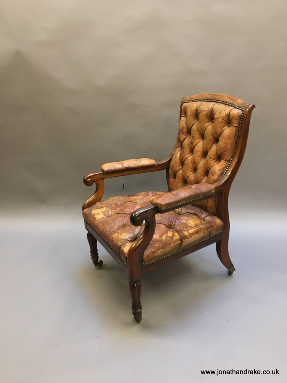 c19th rosewood library chair