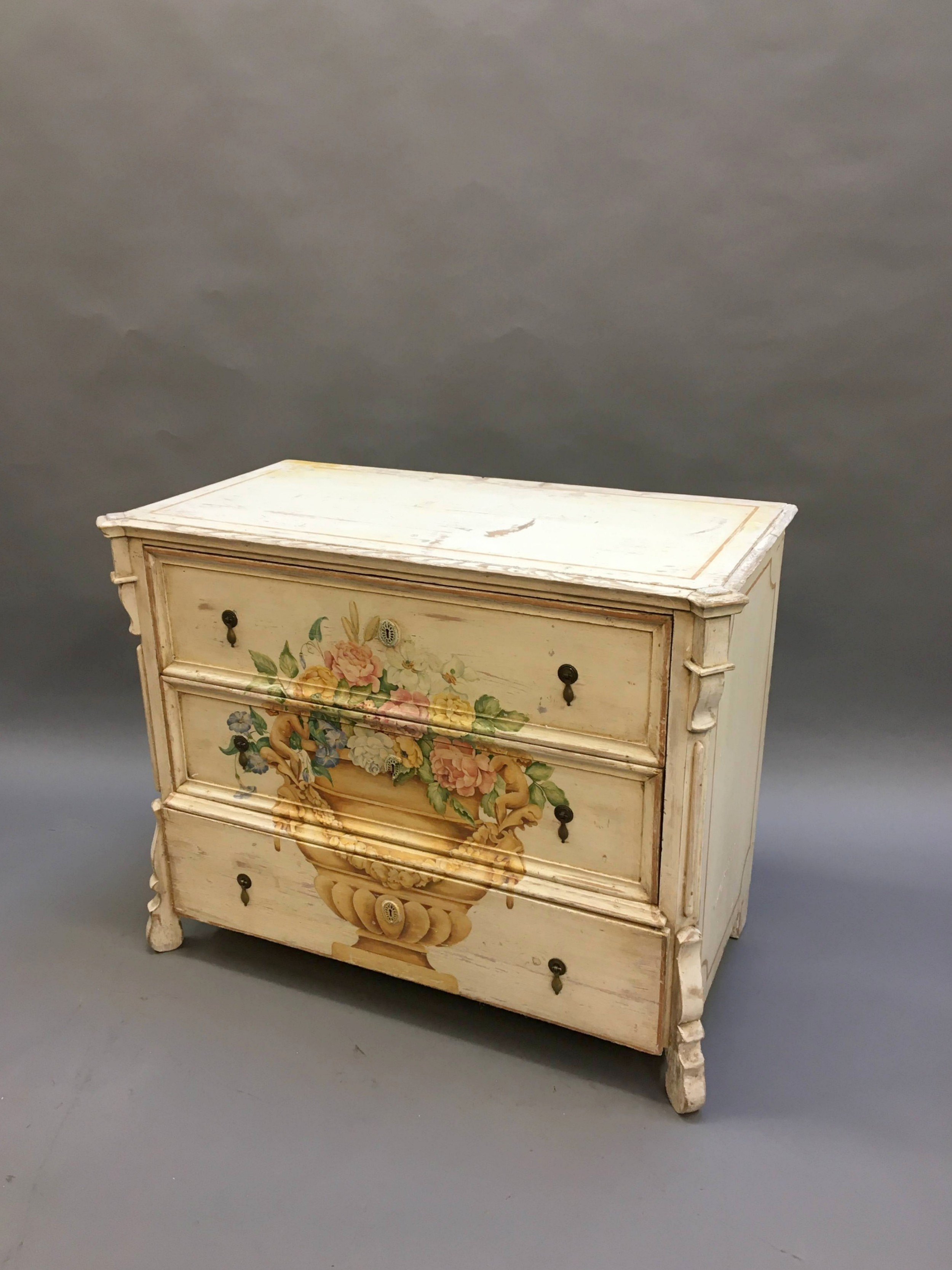 c19th painted commode chest of drawers