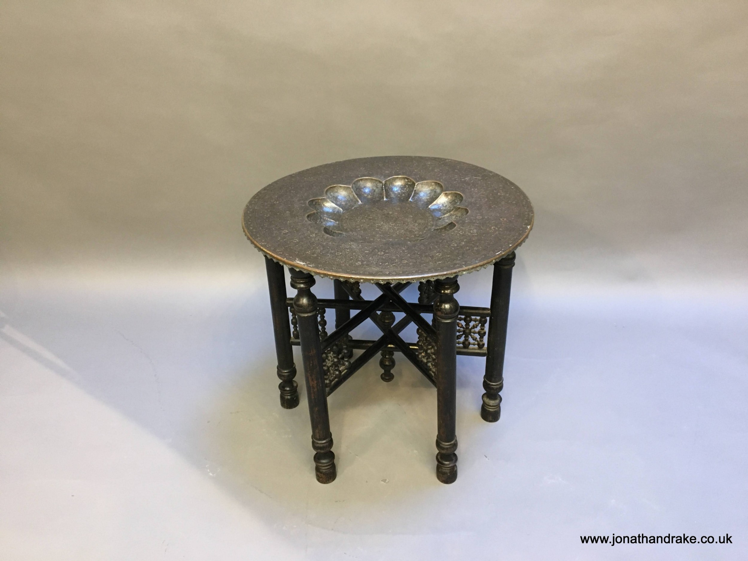 indian brass tray table