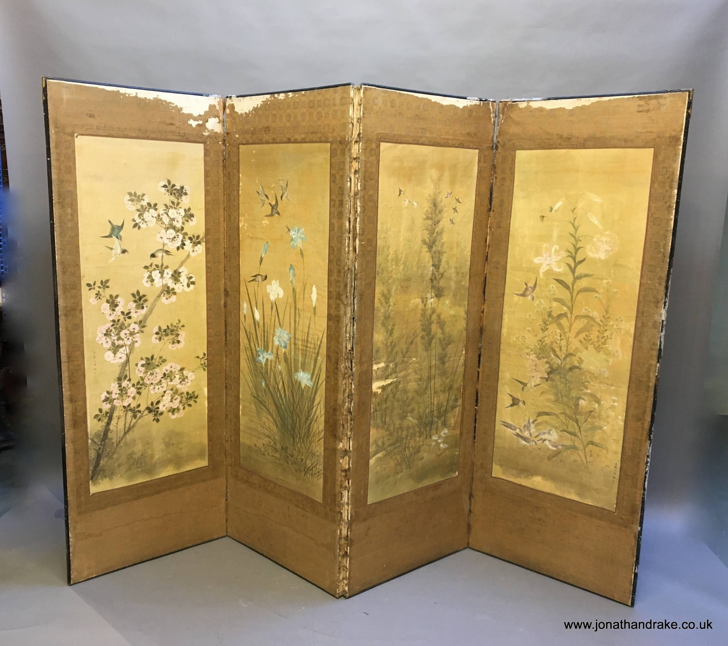 japanese painted 4 fold screen