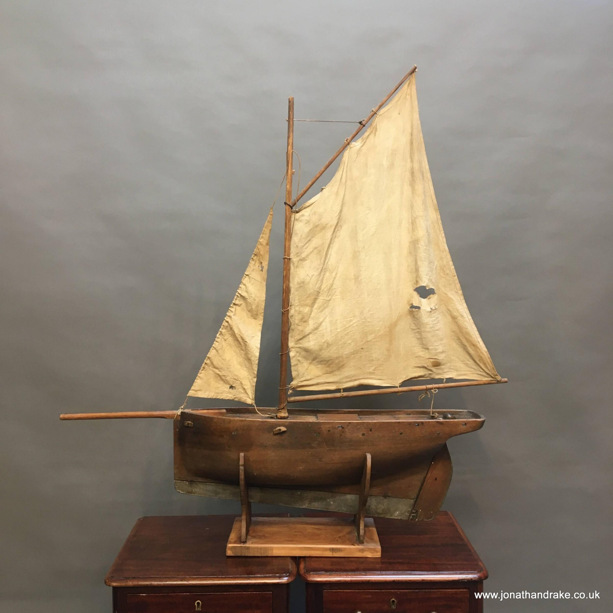 c19th mahogany pond yacht