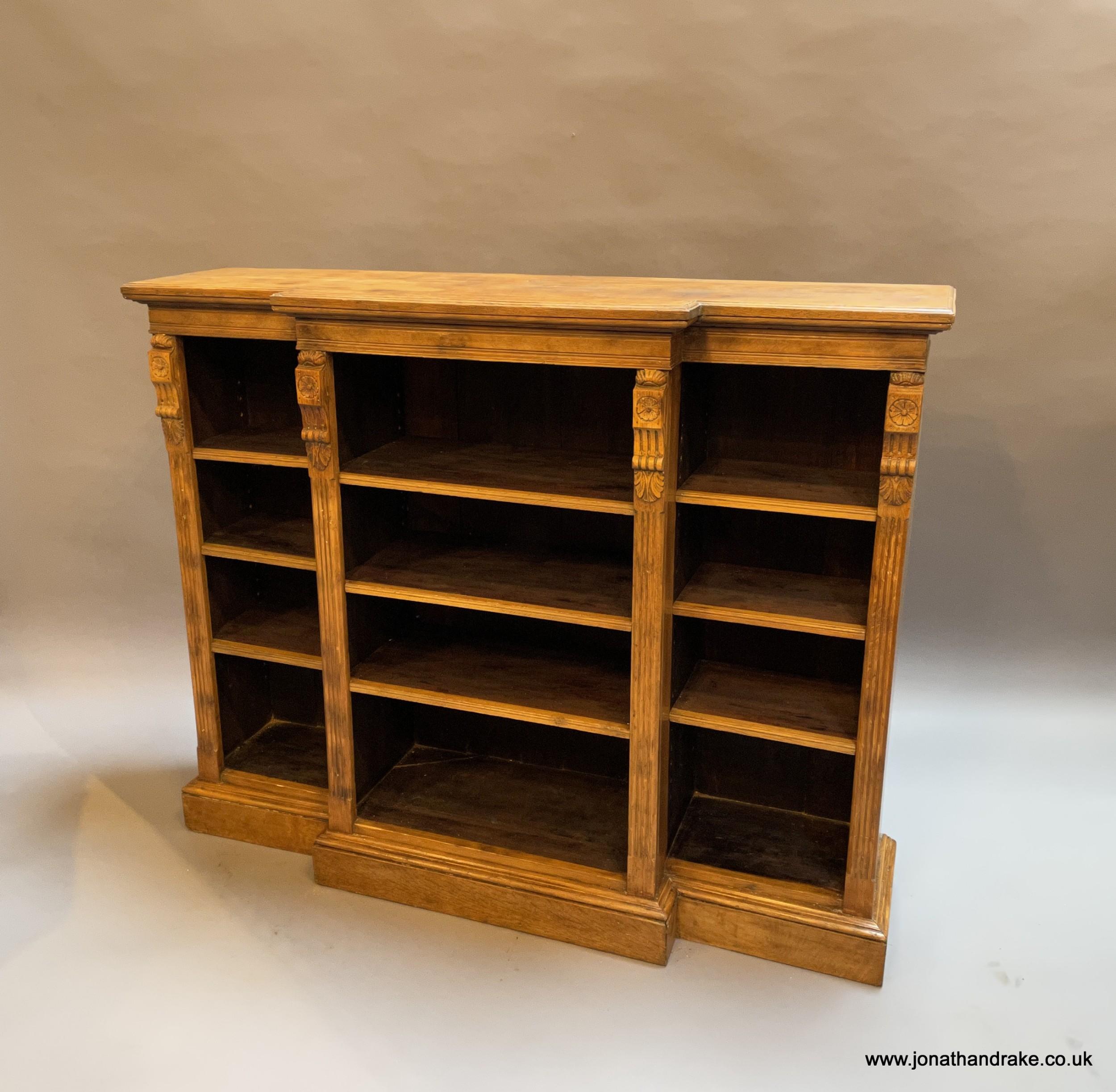 victorian oak breakfront bookcase