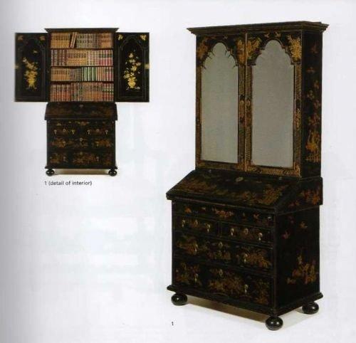 william mary black japanned bureau bookcase