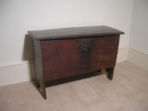 small 17th century six plank oak chest