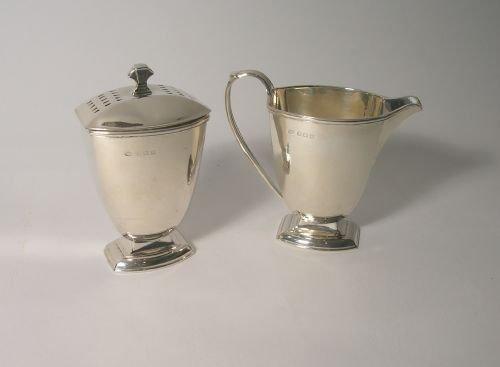 art deco silver sugar sifter and cream jug