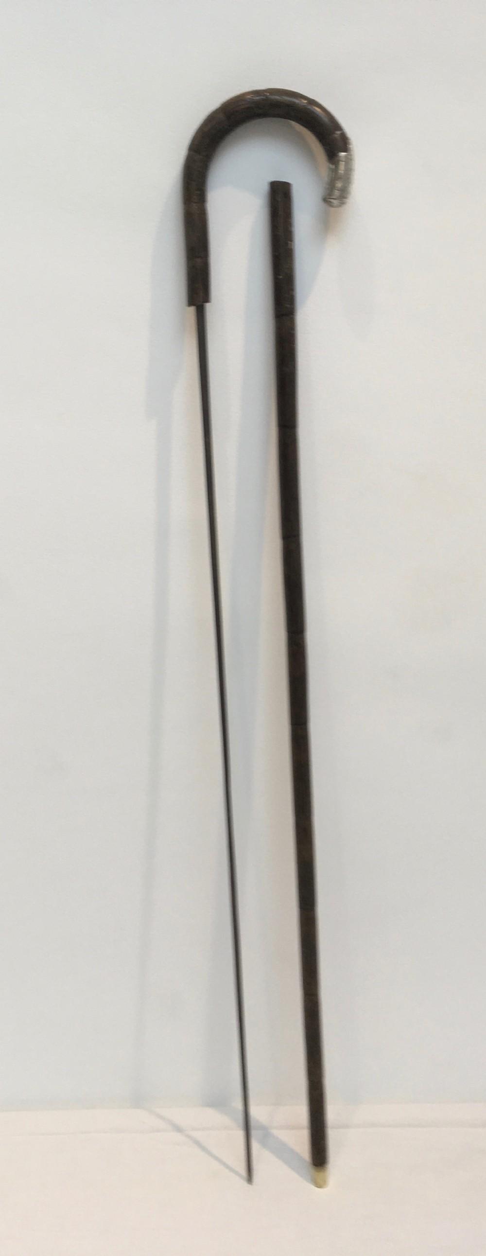 silver crook handled sword stick 1913