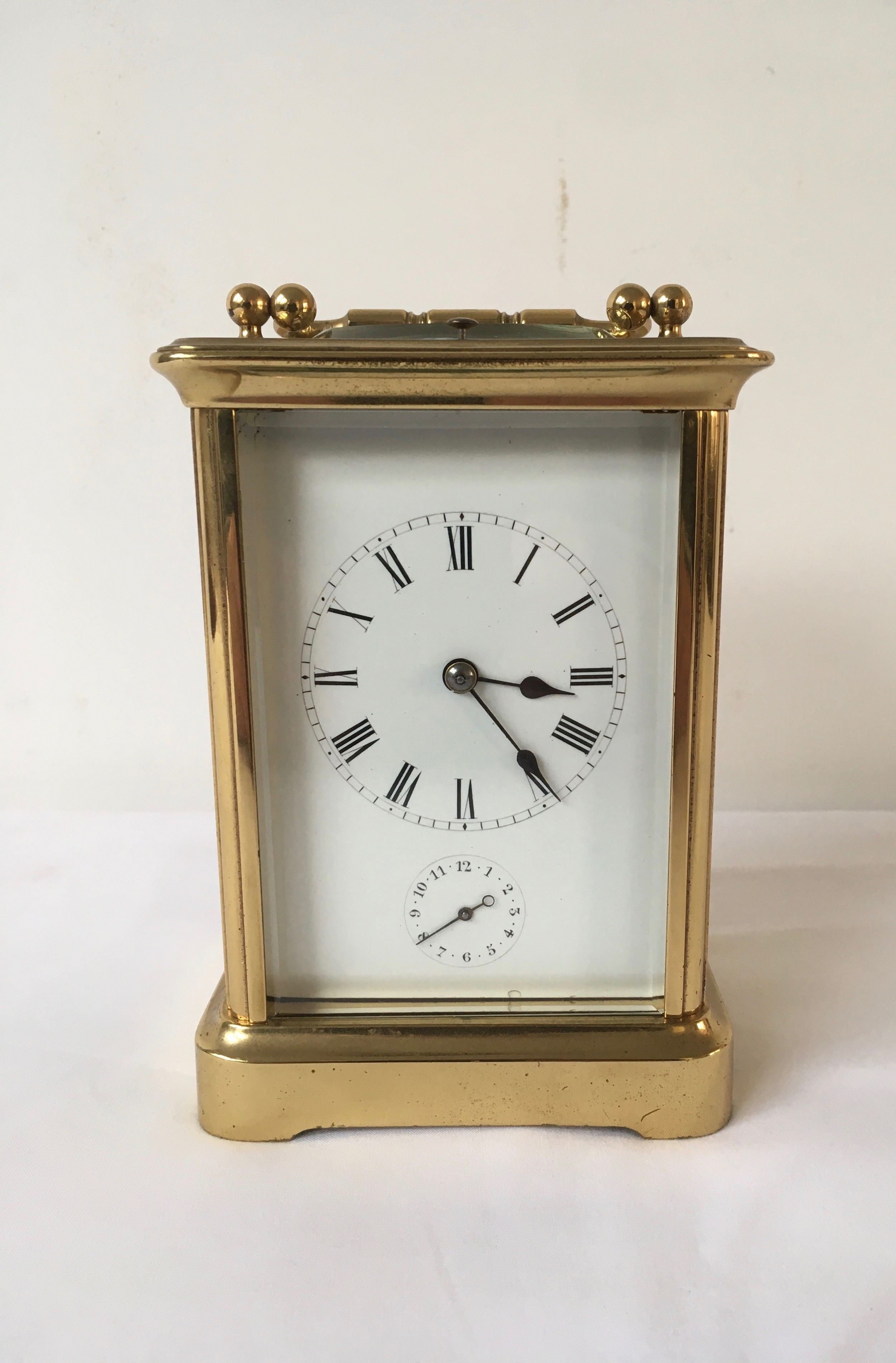 brass striking repeater carriage clock with alarm