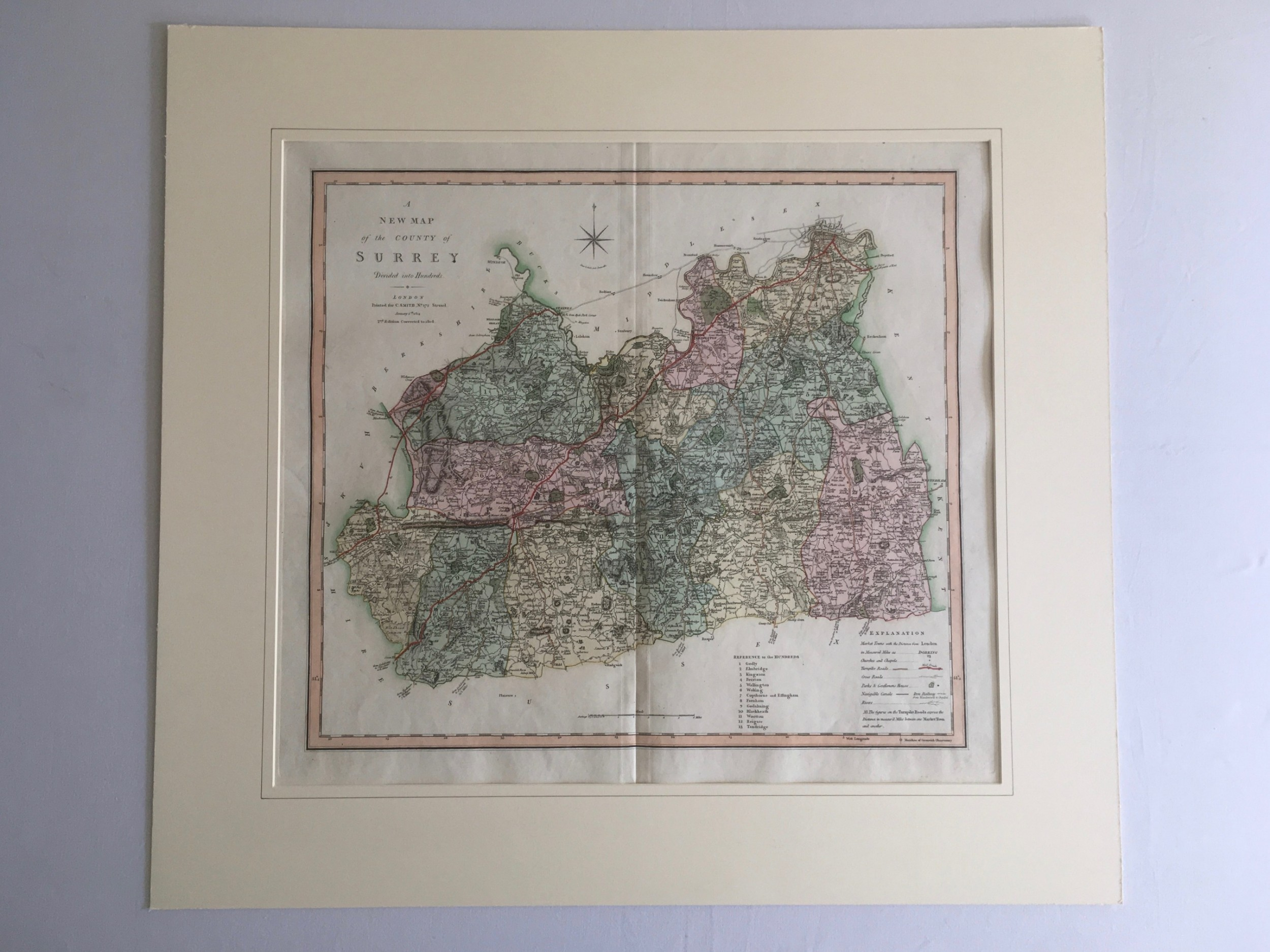 antique map of surrey by c smith 1808