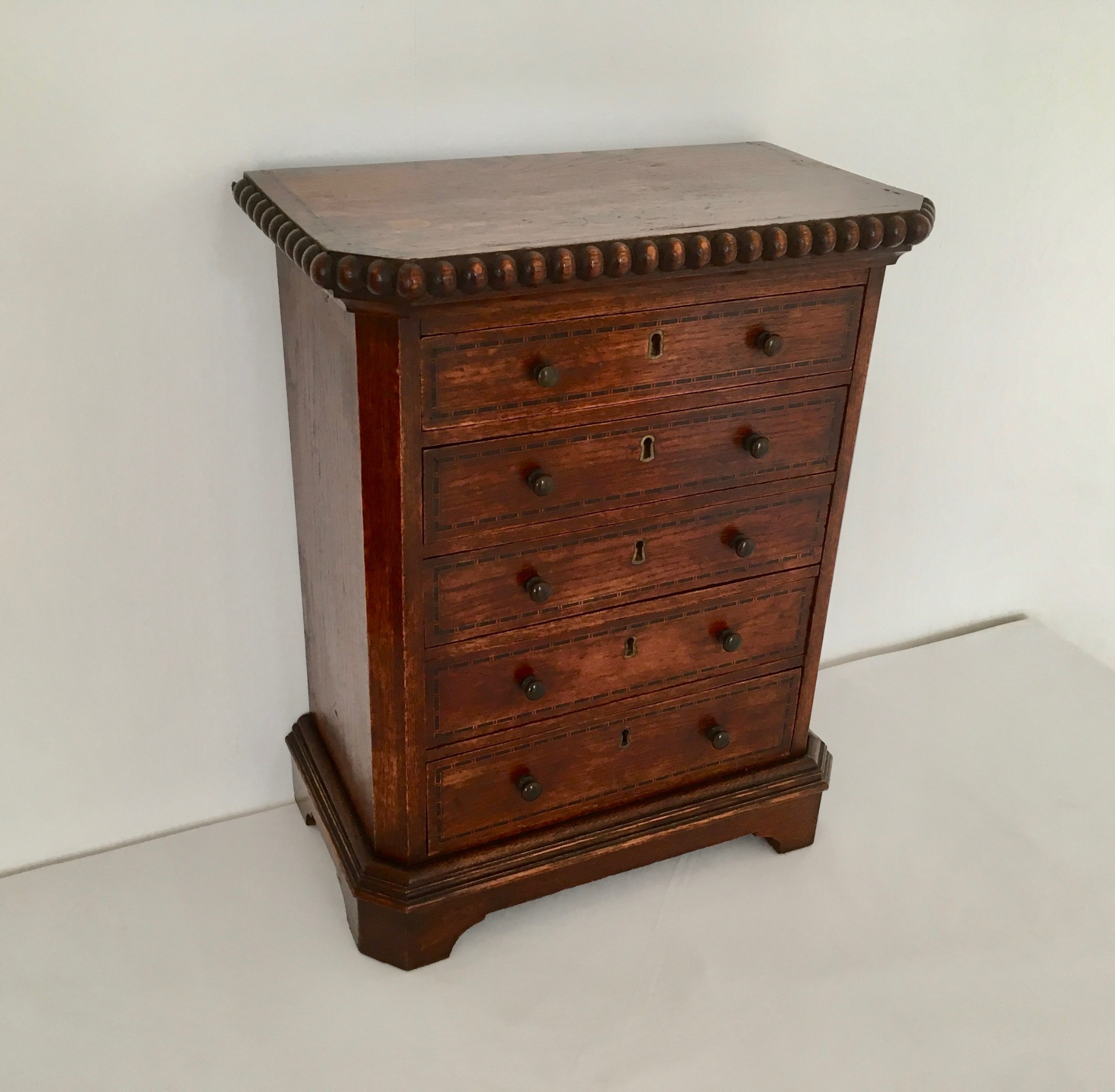oak inlaid collectors cabinet chest