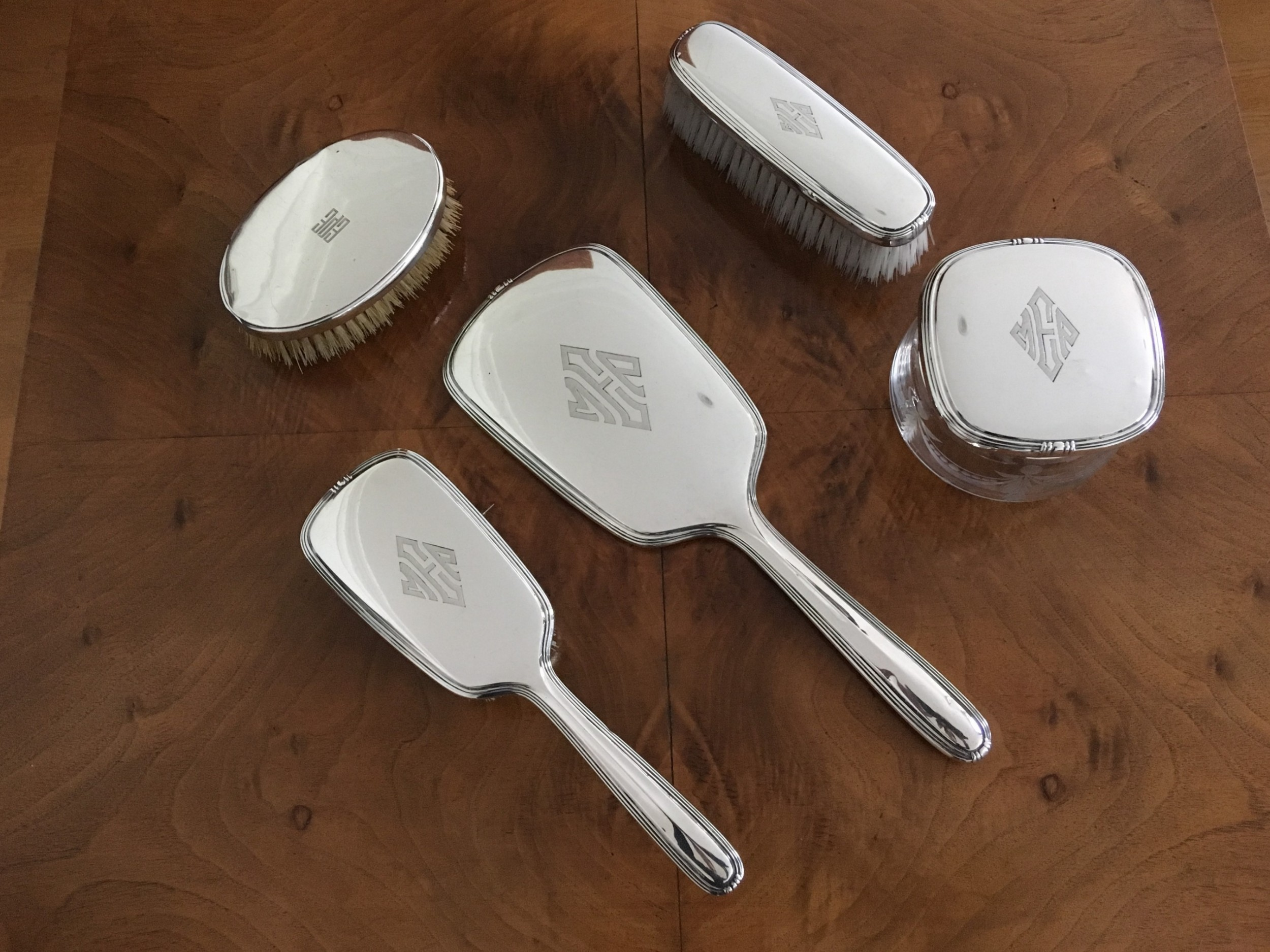 art deco silver dressing table set