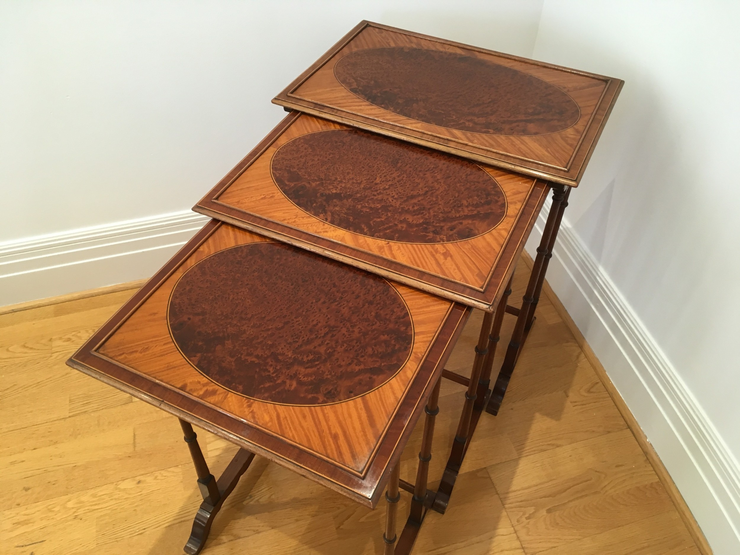 nest of 3 tables in mahogany amboyna and satinwood