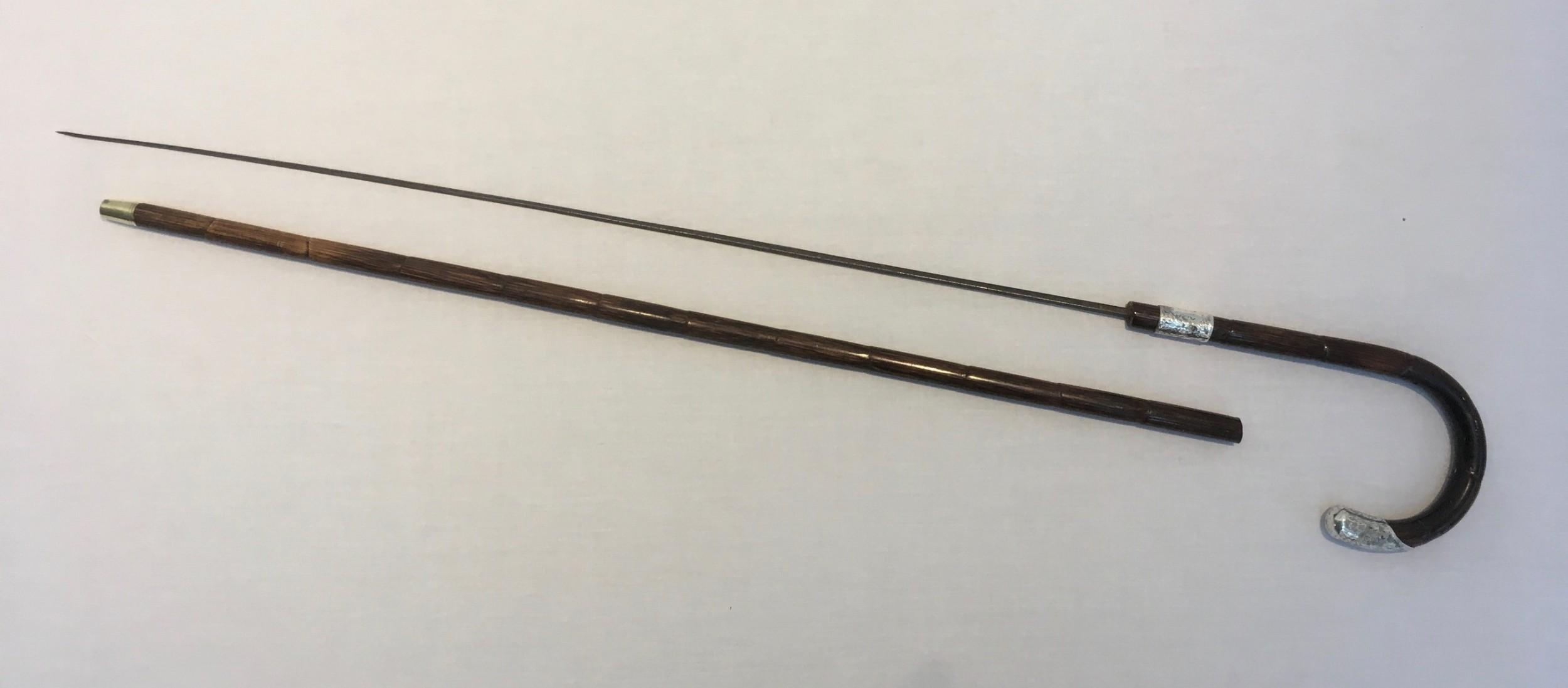 silver crook handled sword stick 1885
