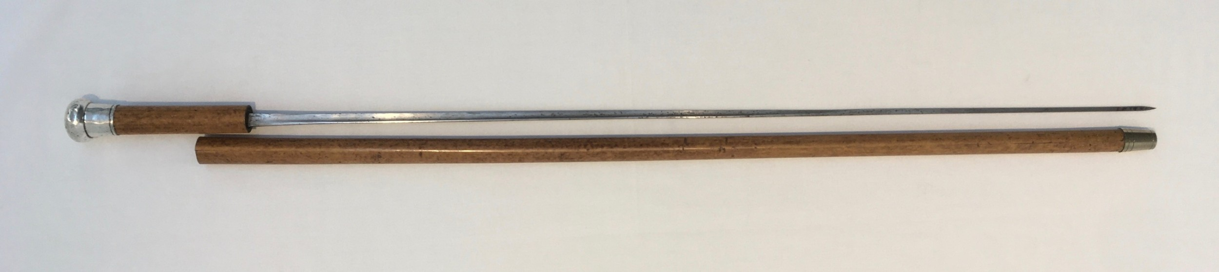 silver handled malacca sword stick london 1886