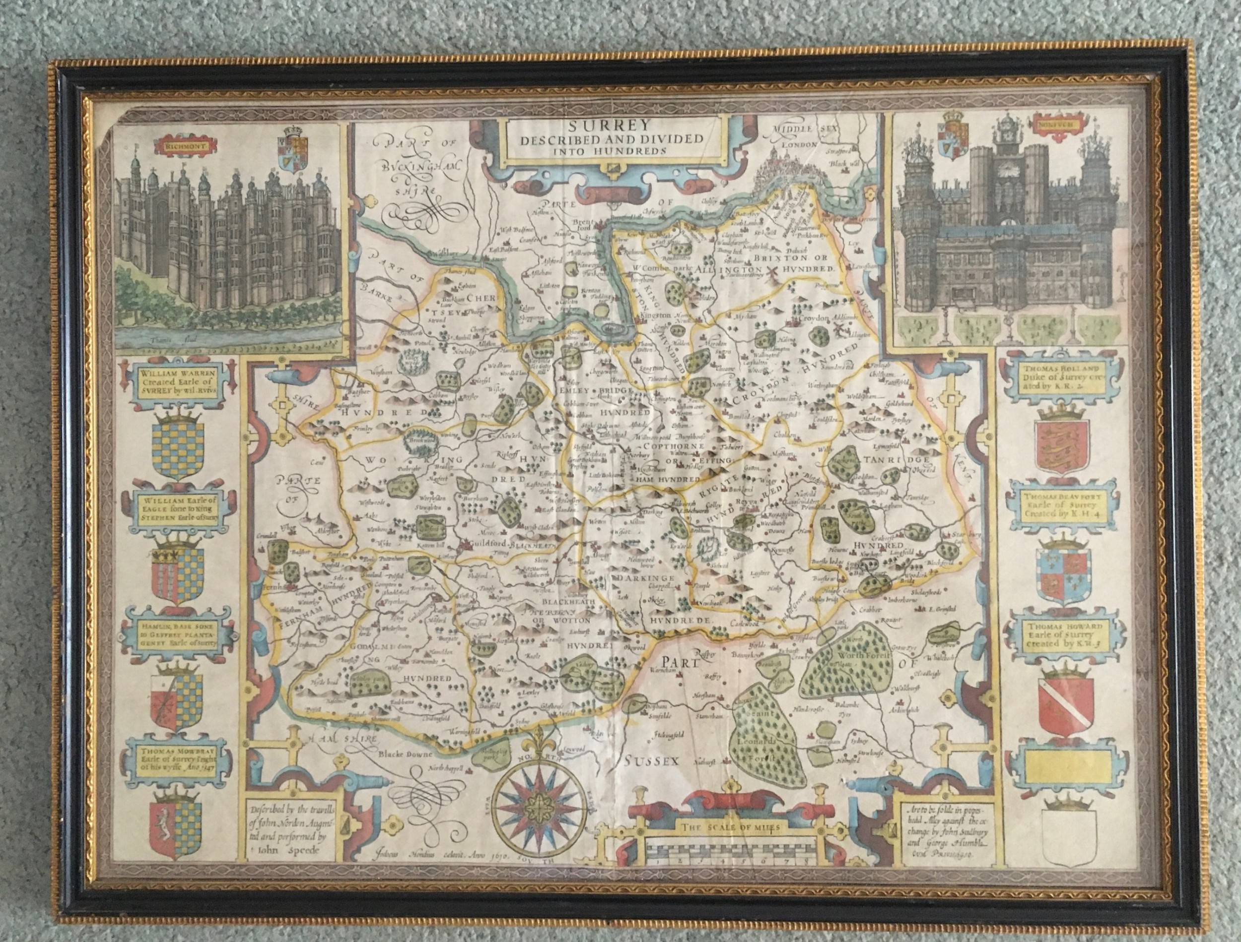 john speed map of surrey 1610