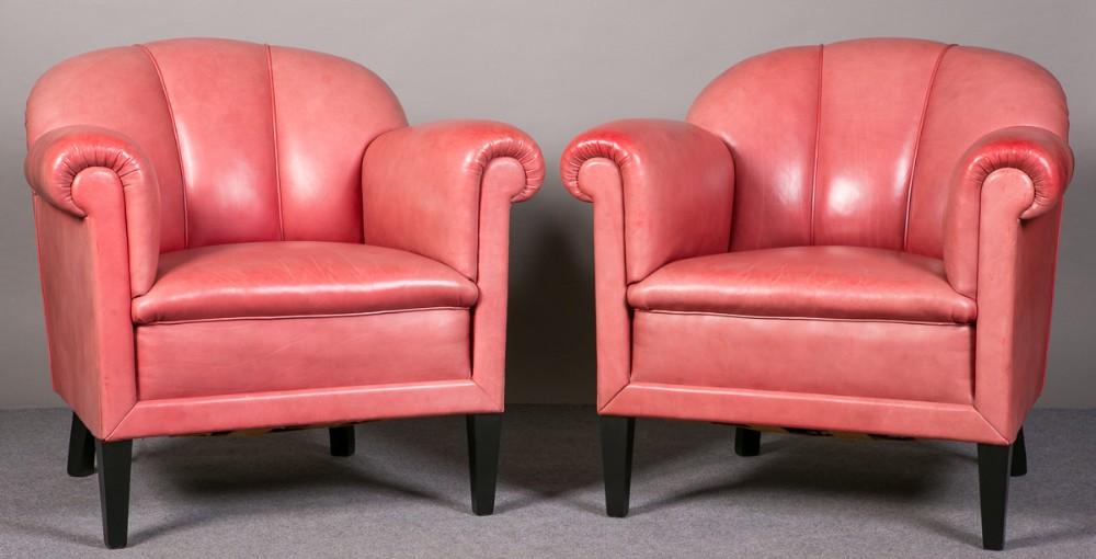 Art Deco Leather Armchairs   254542   Sellingantiques.co.uk
