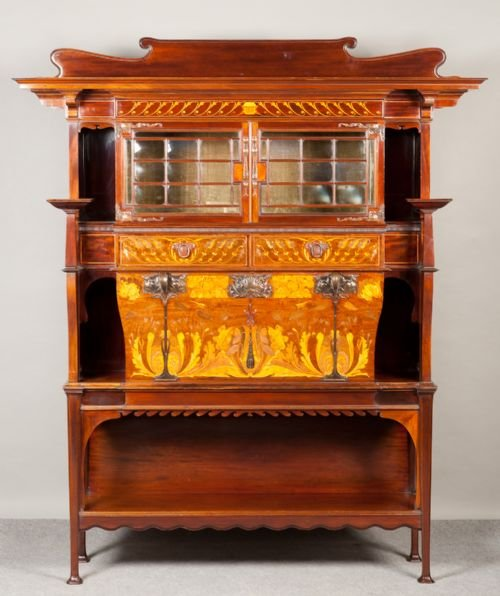 Superb art nouveau secretaire cabinet