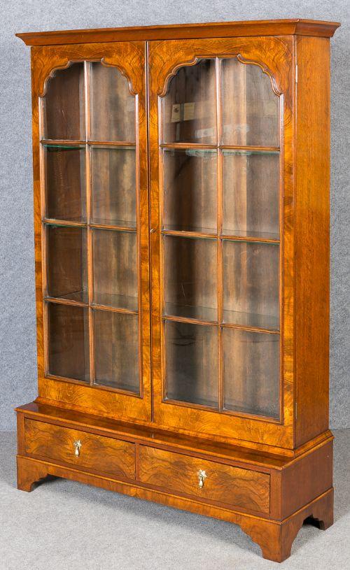 Queen Anne Style Walnut Bookcase Display Cabinet