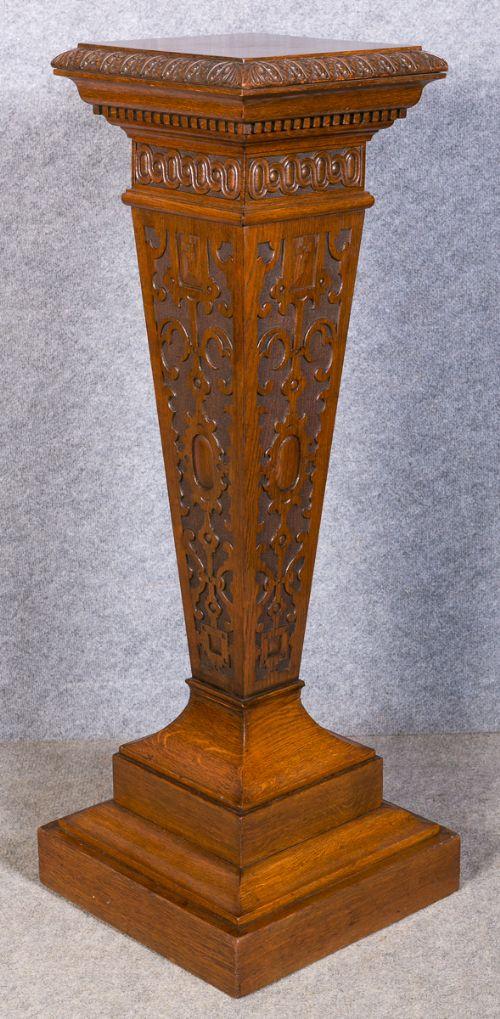 Victorian Oak Pedestal Column Jardiniere Stand 417903