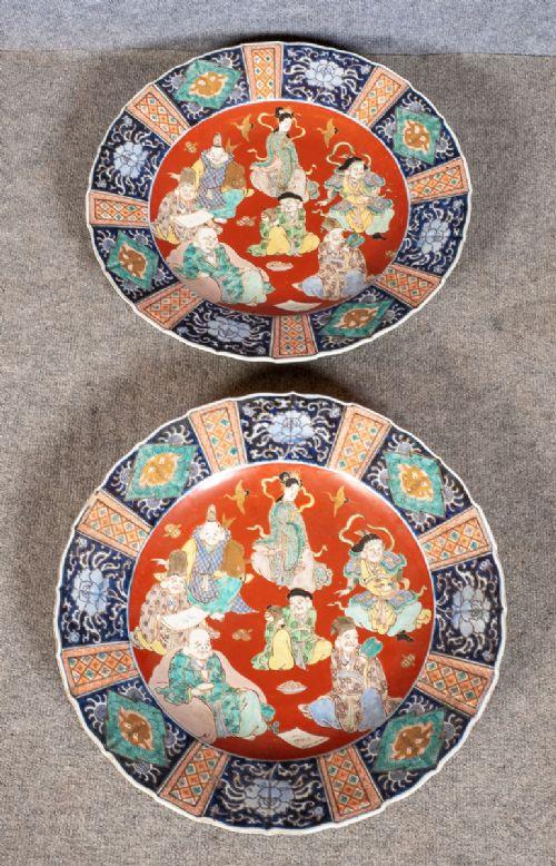decorative pair of imari 1814'' chargers